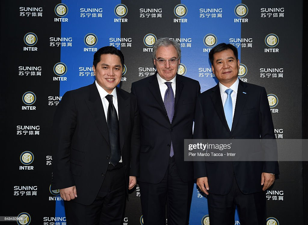 President of FC Internazionale Erick Thohir, President of the Lega Calcio Serie A Maurizio Beretta and Chairman of Suning Holdings Group Zhang Jindong attend a gala dinner after the FC Internazionale Shareholder's Meeting on June 28, 2016 in Milan, Italy.