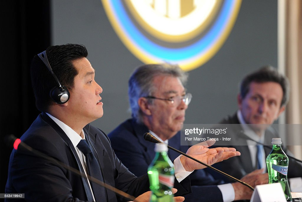 President of FC Internazionale <a gi-track='captionPersonalityLinkClicked' href=/galleries/search?phrase=Erick+Thohir&family=editorial&specificpeople=9531719 ng-click='$event.stopPropagation()'>Erick Thohir</a> speaks during the FC Internazionale Shareholder's Meeting on June 28, 2016 in Milan, Italy.