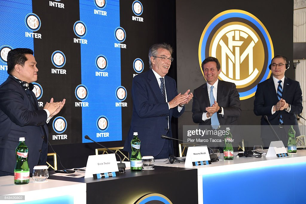 President of FC Internazionale Erick Thoir, Former President of FC Internazionale <a gi-track='captionPersonalityLinkClicked' href=/galleries/search?phrase=Massimo+Moratti&family=editorial&specificpeople=2726881 ng-click='$event.stopPropagation()'>Massimo Moratti</a> and (R) CEO of FC Internazionale Yang Yang clap their hands during the FC Internazionale Shareholder's Meeting on June 28, 2016 in Milan, Italy.