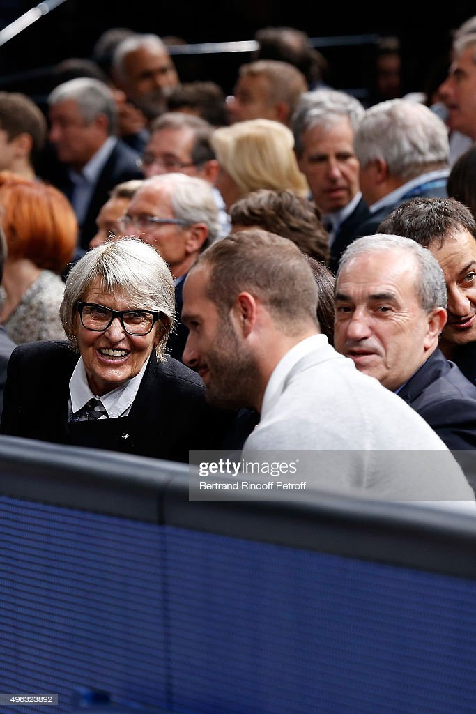President of Federation Francaise de Tennis Jean Gachassin and his wife Minou with Frederic Michalak attend the BNP Paribas Tennis Master 1000 2015 on November 8, 2015 in Paris, France.