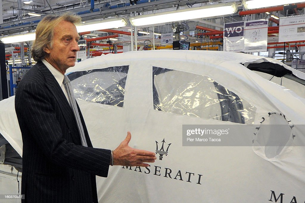 President of Ferrari Luca Cordero di Montezelo attends the unveiling of the new Maserati plant in Grugliasco, which has been dedicated to Gianni Agnelli on January 30, 2013 in Turin, Italy. The new plant near the company's headquarters in Turin will produce Maserati's new model of luxury saloon cars, the Quattroporte.