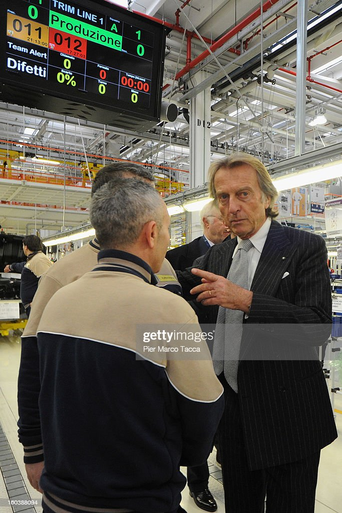 President of Ferrari <a gi-track='captionPersonalityLinkClicked' href=/galleries/search?phrase=Luca+Cordero+di+Montezemolo&family=editorial&specificpeople=236070 ng-click='$event.stopPropagation()'>Luca Cordero di Montezemolo</a> during the unveiling of the Maserati Plant in Grugliasco dedicated to Gianni Agnelli on January 30, 2013 in Turin, Italy. The new plant near the company's headquarters in Turin will produce Maserati's new model of luxury saloon cars, the Quattroporte.