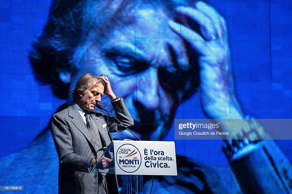 President of Ferrari Luca Cordero di Montezemolo gestures as he delivers a speech during a campaign rally for the centrist alliance 'With Monit For Italy' (Con Monti Per L'Italia) and the 'Civic Choice' (Scelta Civica) movement on February 15, 2013 in Rome, Italy. Italians will head to the polls on February 24 and 25 to to elect the new Italian Prime Minister.