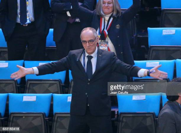 President of FFH Joel Delplanque dances in the stands during the 25th IHF Men's World Championship 2017 Final between France and Norway at...