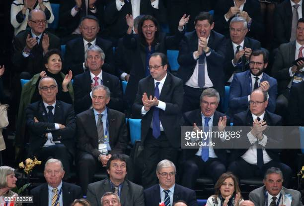 President of FFH Joel Delplanque IHF President Hassan Moustafa President of France Francois Hollande IOC President Thomas Bach Prince Albert II of...