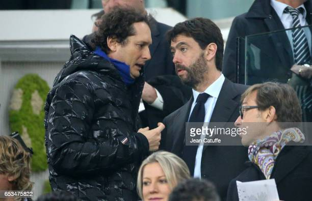President of Fiat Chrysler Automobiles and Exor John Elkann talks with President of Juventus Andrea Agnelli ahead of the UEFA Champions League Round...