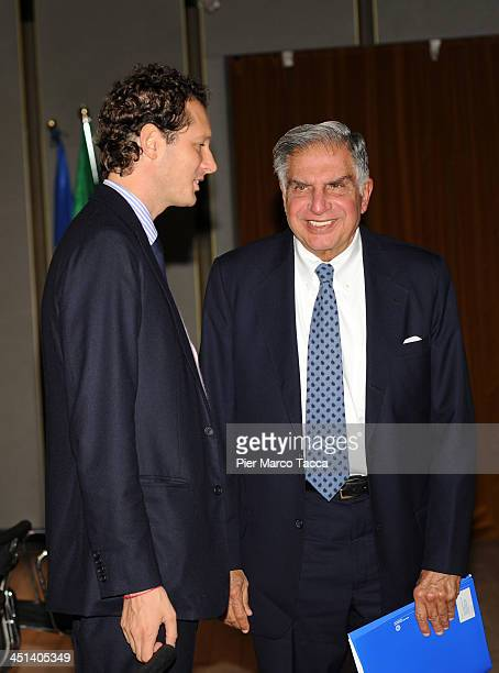 President of FIAT Group John Elkann and President of Tata Group Ratan Tata attend Lecito Inauguralis at Bocconi University on November 22 2013 in...