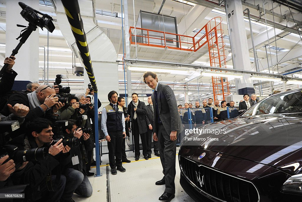 President of FIAT John Elkann poses next to a Maserati Quattroporte during the unveiling of the new Maserati plant in Grugliasco, which has been dedicated to Gianni Agnelli on January 30, 2013 in Turin, Italy. The new plant near the company's headquarters in Turin will produce Maserati's new model of luxury saloon cars, the Quattroporte.