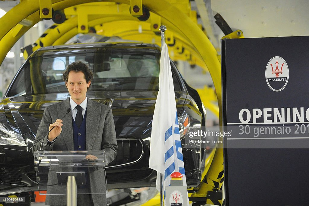 President of FIAT John Elkann speaks during the unveiling of the new Maserati plant in Grugliasco, which has been dedicated to Gianni Agnelli on January 30, 2013 in Turin, Italy. The new plant near the company's headquarters in Turin will produce Maserati's new model of luxury saloon cars, the Quattroporte.