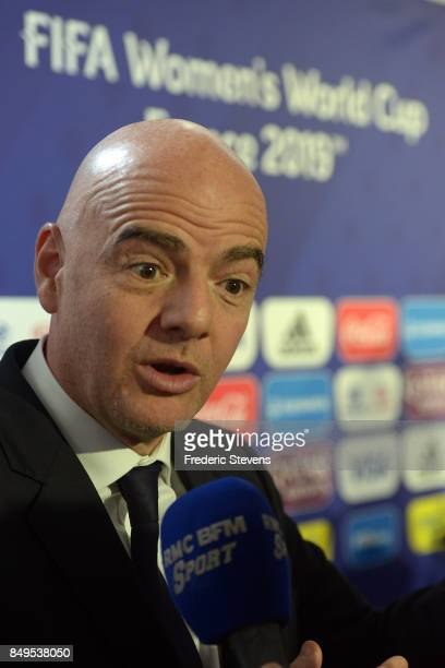 President of FIFA Gianni Infantino speaks with the press during the Presentation World Cup 2019 in France on September 19 2017 in Paris France In two...