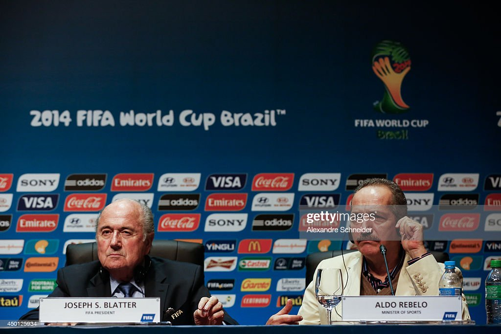 President of FIFA Joseph Blatter and the Minister of Sports <a gi-track='captionPersonalityLinkClicked' href=/galleries/search?phrase=Aldo+Rebelo&family=editorial&specificpeople=772117 ng-click='$event.stopPropagation()'>Aldo Rebelo</a> speak to the media during a press conference following the last session of the Organising Committee for the FIFA World Cup at the Grand Hyatt Hotel on June 5, 2014 in Sao Paulo, Brazil.