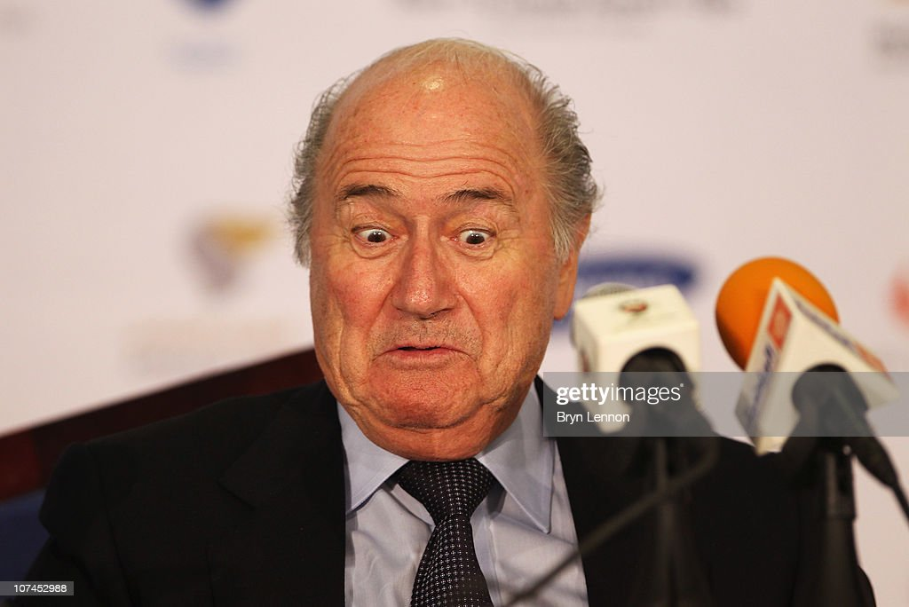 President of FIFA, Jospeh <a gi-track='captionPersonalityLinkClicked' href=/galleries/search?phrase=Sepp+Blatter&family=editorial&specificpeople=209372 ng-click='$event.stopPropagation()'>Sepp Blatter</a> attends a press conference with the Oman Football Association at the Main Press Centre, Al-Musannah Sports City on December 9, 2010 in Muscat, Oman.