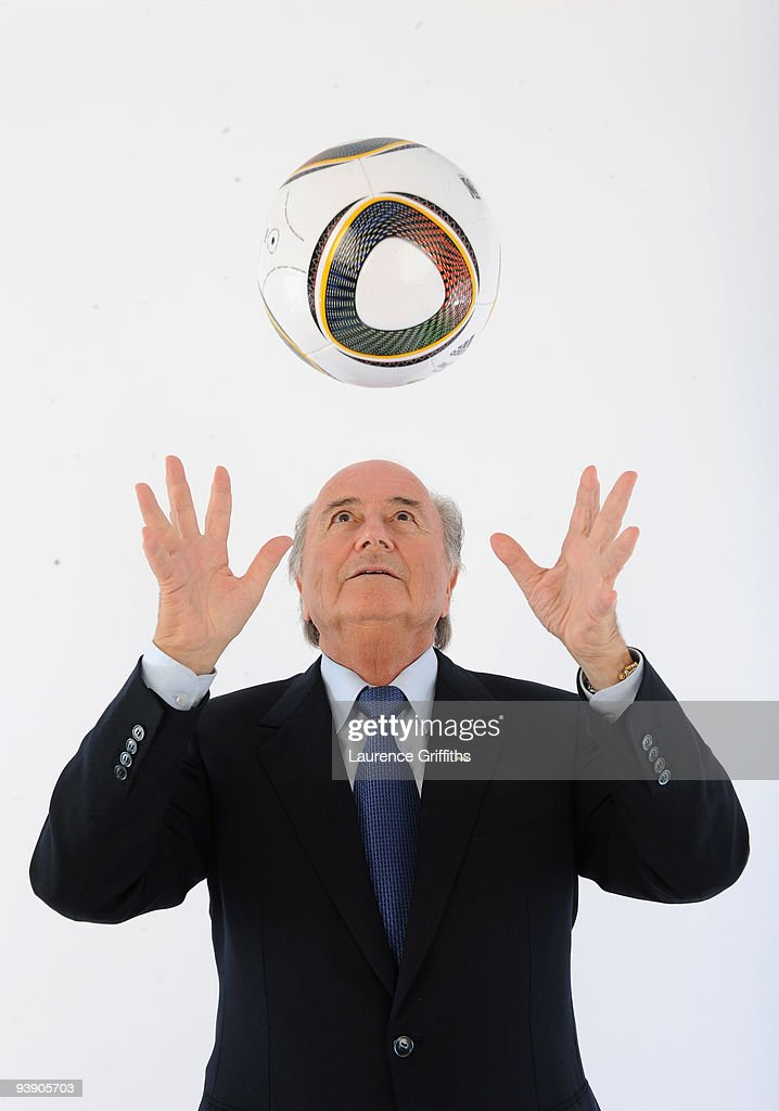 President of FIFA <a gi-track='captionPersonalityLinkClicked' href=/galleries/search?phrase=Sepp+Blatter&family=editorial&specificpeople=209372 ng-click='$event.stopPropagation()'>Sepp Blatter</a> presents the official match ball for the FIFA World Cup 2010 on December 4, 2009 in Cape Town, South Africa.