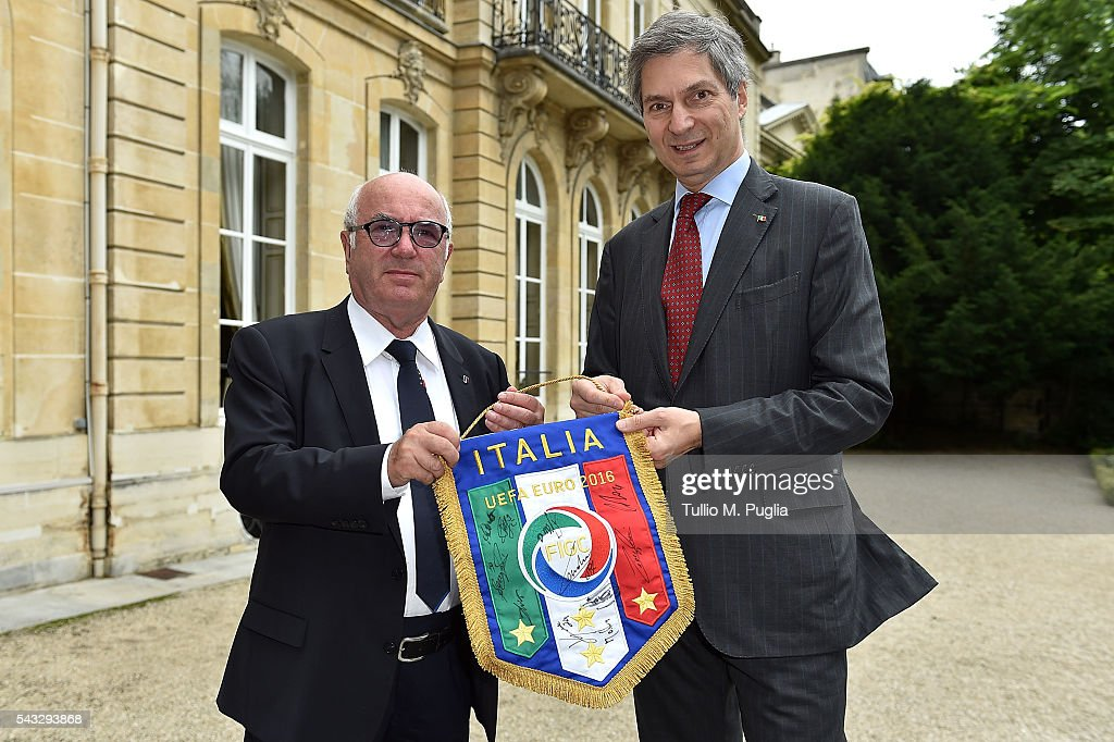 President of FIGC <a gi-track='captionPersonalityLinkClicked' href=/galleries/search?phrase=Carlo+Tavecchio&family=editorial&specificpeople=5365308 ng-click='$event.stopPropagation()'>Carlo Tavecchio</a> (L) poses with The Ambassador of Italy to France Giandomenico Magliano at Embassy of Italy to France during Casa Azzurri on Tour on June 27, 2016 in Paris, France.