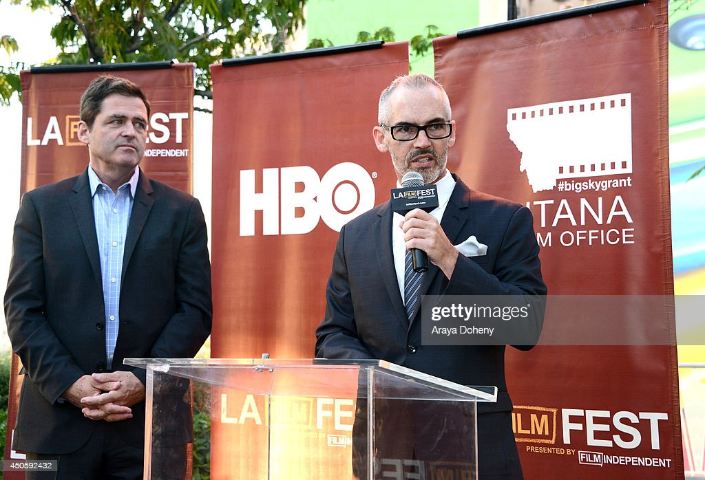 President of Film Independent <a gi-track='captionPersonalityLinkClicked' href=/galleries/search?phrase=Josh+Welsh&family=editorial&specificpeople=5431194 ng-click='$event.stopPropagation()'>Josh Welsh</a> and Mitch O'Farrell, Los Angeles City Council District 13, attend the Filmmaker Reception during the 2014 Los Angeles Film Festival at Club Nokia on June 13, 2014 in Los Angeles, California.