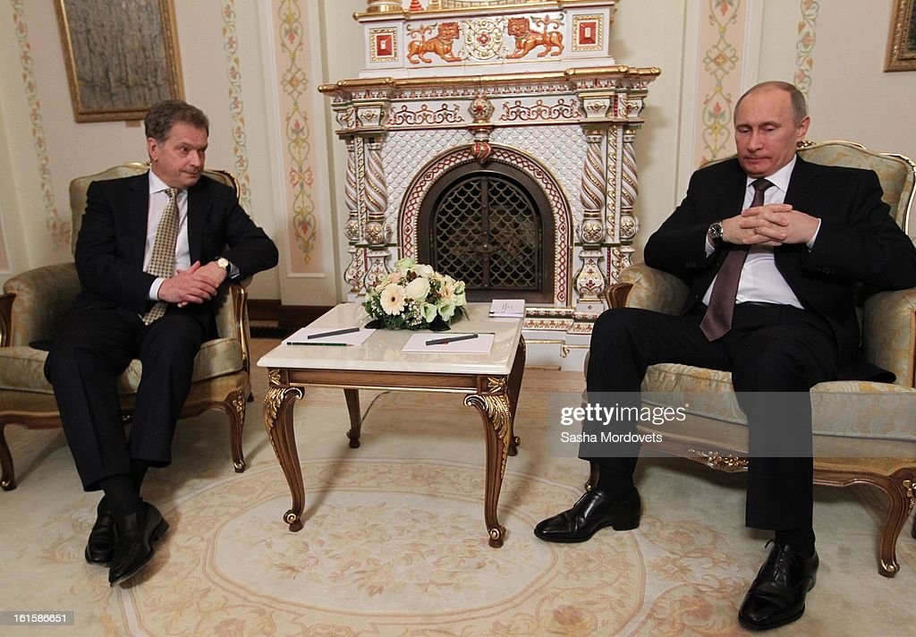 President of Finland Sauli Niinisto (L) holds talks with Russian President <a gi-track='captionPersonalityLinkClicked' href=/galleries/search?phrase=Vladimir+Putin&family=editorial&specificpeople=154896 ng-click='$event.stopPropagation()'>Vladimir Putin</a> during their meeting on February 12, 2013 n Moscow, Russia. Niinisto, on a three-day visit to Russia, is also due to meet with Prime Minister Dmitri Medvedev and attend the Prodexpo foodstuffs industry exhibition.