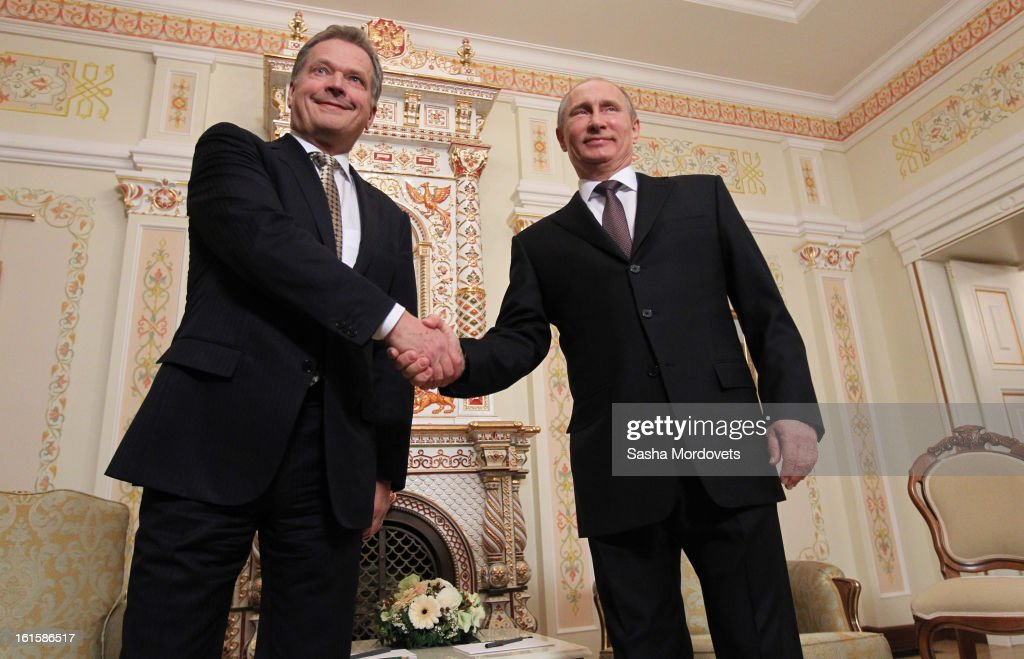 President of Finland Sauli Niinisto (R) is welcomed by Russian President <a gi-track='captionPersonalityLinkClicked' href=/galleries/search?phrase=Vladimir+Putin&family=editorial&specificpeople=154896 ng-click='$event.stopPropagation()'>Vladimir Putin</a> during their meeting on February 12, 2013 n Moscow, Russia. Niinisto, on a three-day visit to Russia, is also due to meet with Prime Minister Dmitri Medvedev and attend the Prodexpo foodstuffs industry exhibition.
