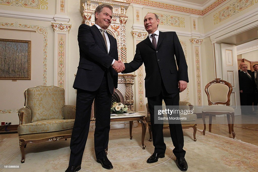 President of Finland Sauli Niinisto (L) is welcomed by Russian President Vladimir Putin during their meeting on February 12, 2013 n Moscow, Russia. Niinisto, on a three-day visit to Russia, is also due to meet with Prime Minister Dmitri Medvedev and attend the Prodexpo foodstuffs industry exhibition.