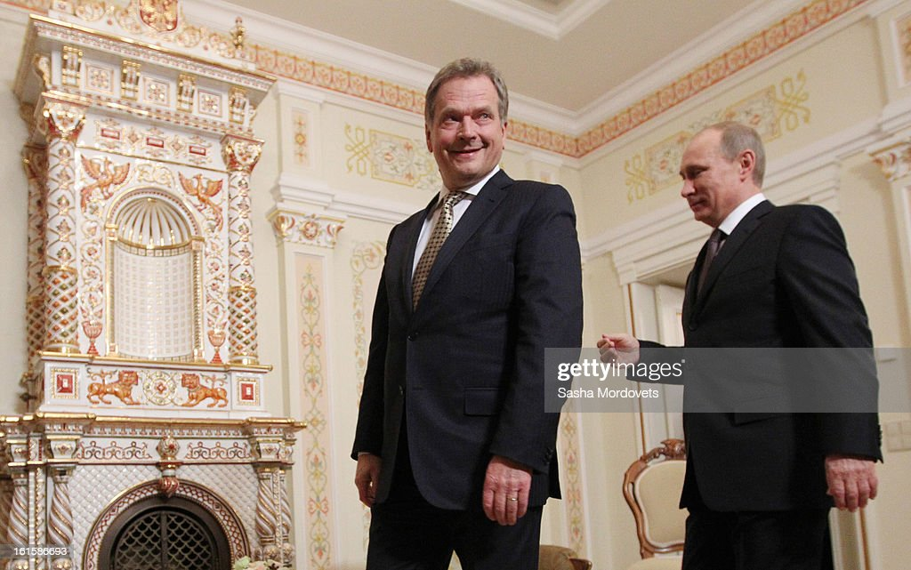 President of Finland Sauli Niinisto (L) is welcomed by Russian President <a gi-track='captionPersonalityLinkClicked' href=/galleries/search?phrase=Vladimir+Putin&family=editorial&specificpeople=154896 ng-click='$event.stopPropagation()'>Vladimir Putin</a> during their meeting on February 12, 2013 n Moscow, Russia. Niinisto, on a three-day visit to Russia, is also due to meet with Prime Minister Dmitri Medvedev and attend the Prodexpo foodstuffs industry exhibition.