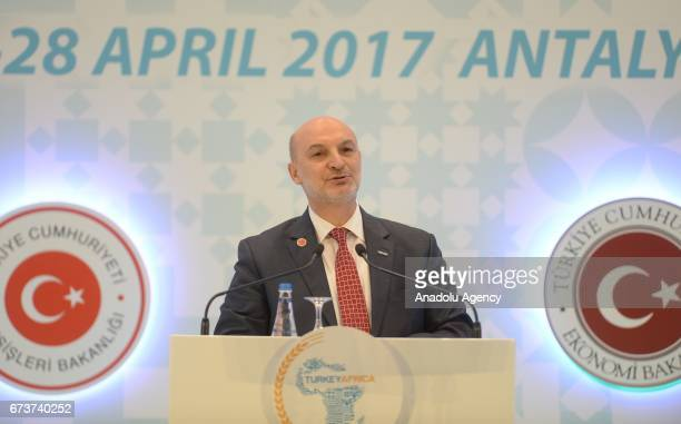 President of Foreign Economic Relations Board Omer Cihad Vardan delivers a speech during the TurkeyAfrica First Agriculture Ministers Meeting and...