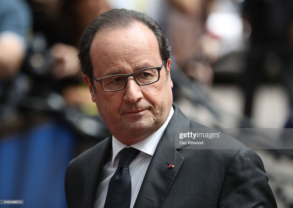 President of France, Francois Hollande attends a European Council Meeting at the Council of the European Union on June 28, 2016 in Brussels, Belgium. British Prime Minister David Cameron will hold talks with other EU leaders in what will likely be his final scheduled meeting with the full European Council before he stands down as Prime Minister. The meetings come at a time of economic and political uncertainty following the referendum result last week which saw the UK vote to leave the European Union.