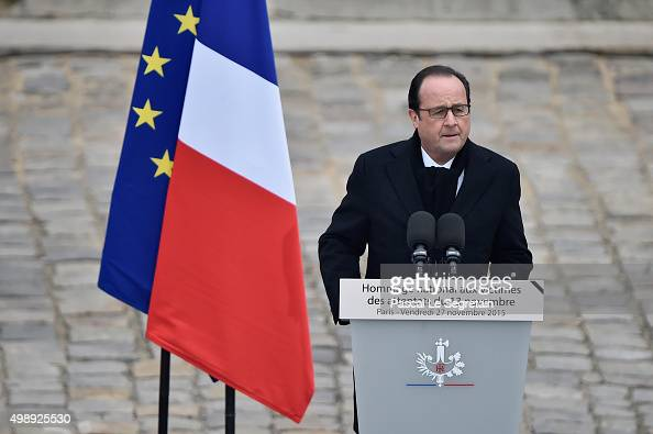 President of France Francois Hollande attends The National Tribute to The Victims of The Paris Terrorist Attacks at Les Invalides on November 27 2015...