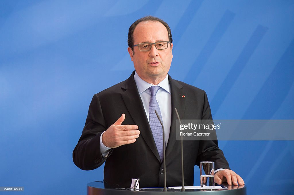 President of France Francois Hollande during a press conference on June 27, 2016 in Berlin, Germany. Renzi and Hollande visit Merkel to discuss the Brexit-decision of Great Britain.