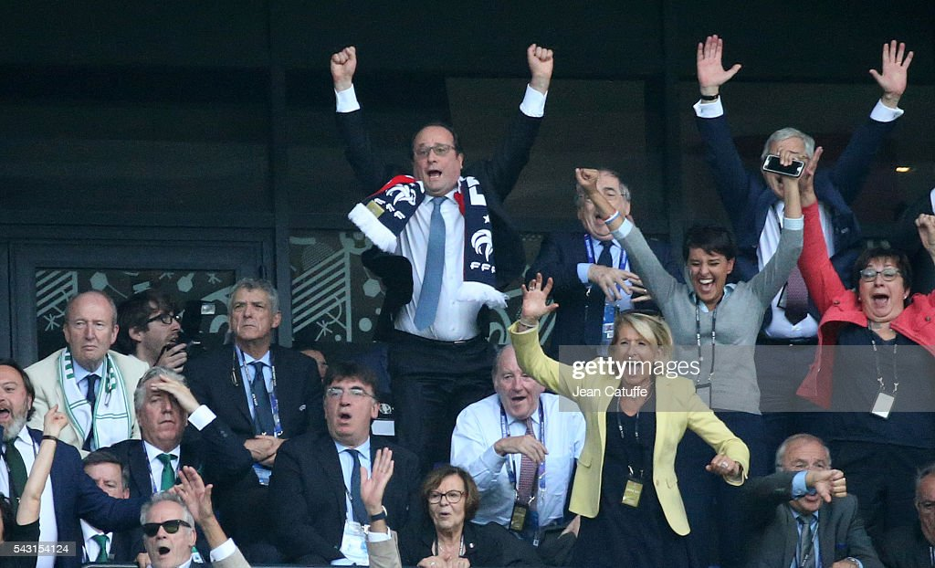 President of France Francois Hollande, French Minister of Education Najat Vallaud-Belkacem (below right) celebrate the second goal of France during the UEFA EURO 2016 round of 16 match between France and Republic of Ireland at Stade des Lumieres, Parc OL on June 26, 2016 in Lyon, France.
