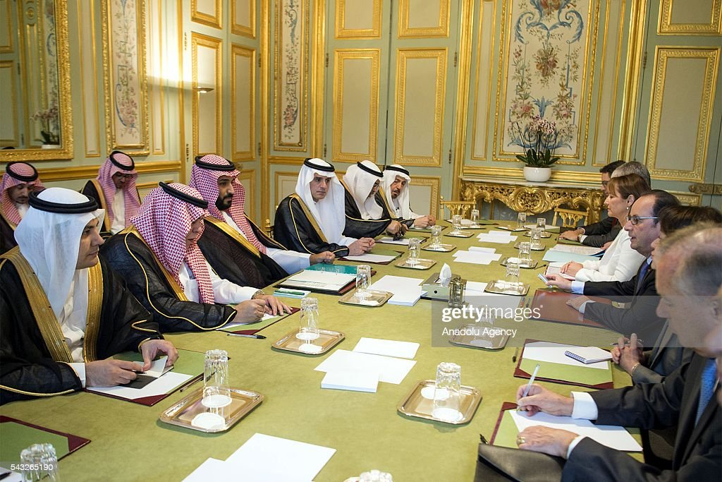 President of France Francois Hollande (R-3) meets Deputy crown prince of Saudi Arabia and Defense minister Mohammad bin Salman Al Saud (L-3) at Elysee Presidential Palace in Paris, France on June 27, 2016.