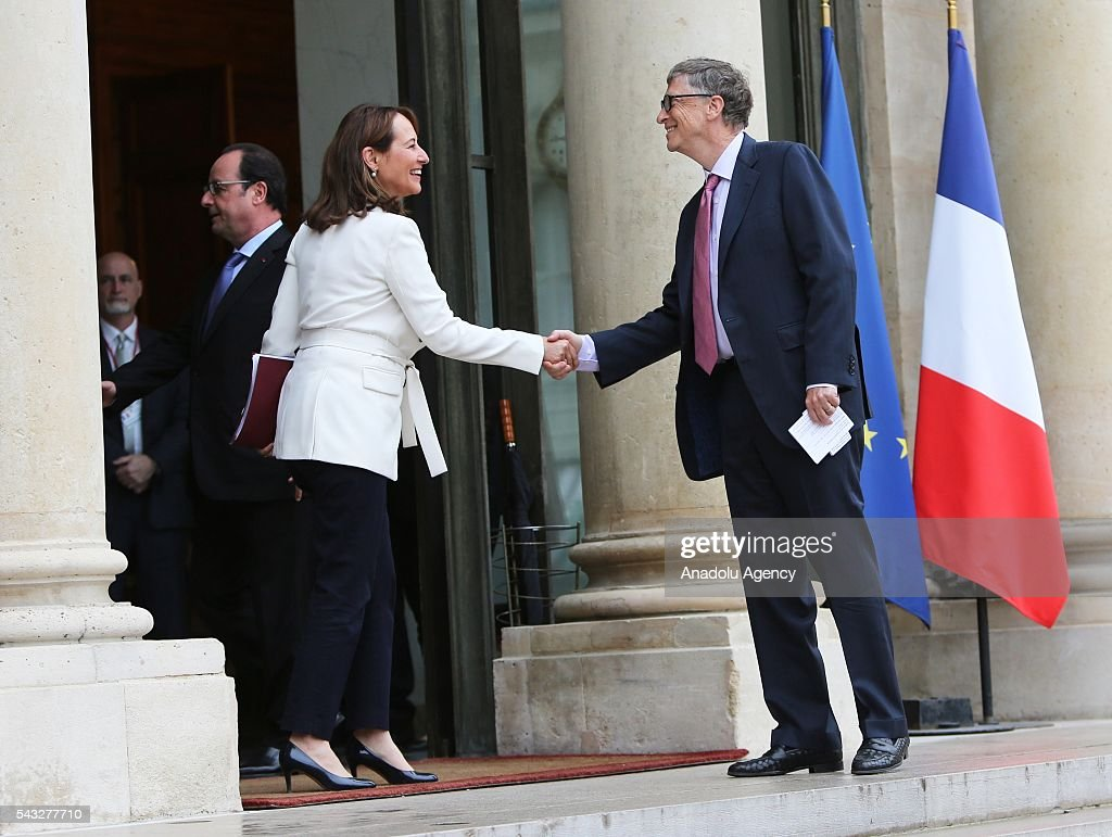 President of France Francois Hollande (L) meets with the Founder of Microsoft Bill Gates (R) at Elysee Palace in Paris, France on June 27, 2016.