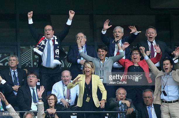 President of France Francois Hollande President of French Football Federation Noel Le Graet President of French Parliament Claude Bartolone French...