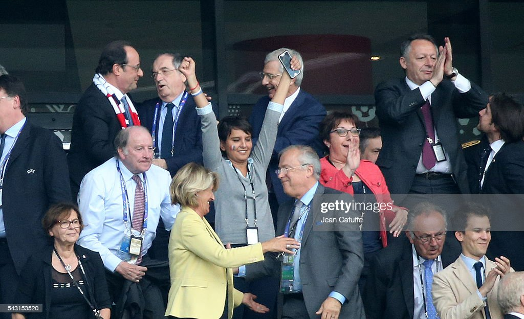 President of France Francois Hollande, President of French Football Federation <a gi-track='captionPersonalityLinkClicked' href=/galleries/search?phrase=Noel+Le+Graet&family=editorial&specificpeople=616884 ng-click='$event.stopPropagation()'>Noel Le Graet</a>, President of French Parliament Claude Bartolone, French Secretary of State for Sports Thierry Braillard, below French Minister of Education <a gi-track='captionPersonalityLinkClicked' href=/galleries/search?phrase=Najat+Vallaud-Belkacem&family=editorial&specificpeople=4115928 ng-click='$event.stopPropagation()'>Najat Vallaud-Belkacem</a> celebrate the victory following the UEFA EURO 2016 round of 16 match between France and Republic of Ireland at Stade des Lumieres, Parc OL on June 26, 2016 in Lyon, France.