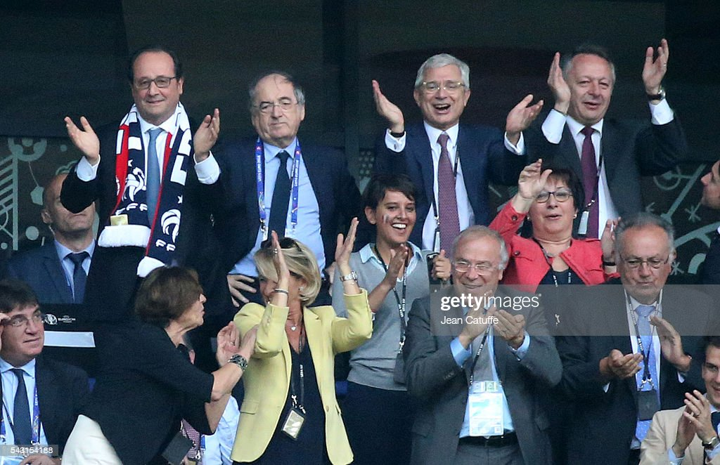President of France Francois Hollande, President of French Football Federation <a gi-track='captionPersonalityLinkClicked' href=/galleries/search?phrase=Noel+Le+Graet&family=editorial&specificpeople=616884 ng-click='$event.stopPropagation()'>Noel Le Graet</a>, President of French Parliament Claude Bartolone, French Secretary of State for Sports Thierry Braillard, below French Minister of Education <a gi-track='captionPersonalityLinkClicked' href=/galleries/search?phrase=Najat+Vallaud-Belkacem&family=editorial&specificpeople=4115928 ng-click='$event.stopPropagation()'>Najat Vallaud-Belkacem</a> celebrate the second goal of France during the UEFA EURO 2016 round of 16 match between France and Republic of Ireland at Stade des Lumieres, Parc OL on June 26, 2016 in Lyon, France.
