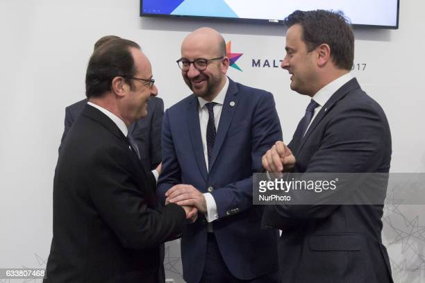 President of France Francois Hollande Prime Minister of Belgium Charles Michel and Prime Minister of Luxembourg Xavier Bettel during the first...