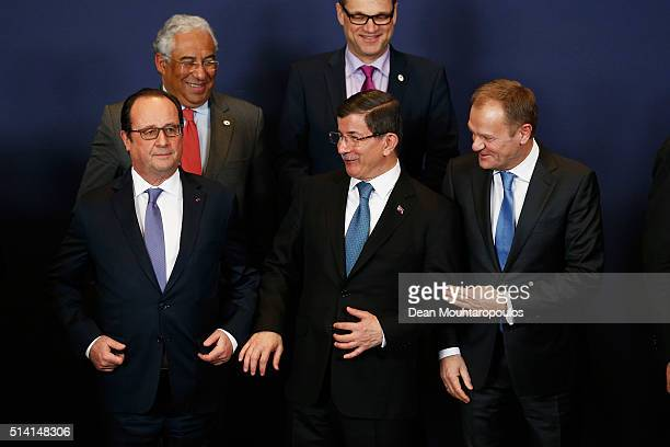 President of France Francois Hollande Turkish Prime Minister Ahmet Davutoglu and European council president Donald Tusk are pictured during the...