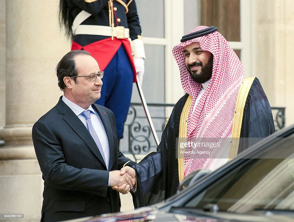 President of France Francois Hollande (L) welcomes Deputy crown prince of Saudi Arabia and Defense minister Mohammad bin Salman Al Saud (R) before their meeting at Elysee Presidential Palace in Paris, France on June 27, 2016.