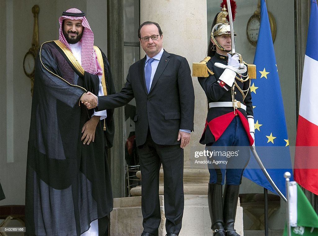 President of France Francois Hollande (R) welcomes Deputy crown prince of Saudi Arabia and Defense minister Mohammad bin Salman Al Saud (L) before their meeting at Elysee Presidential Palace in Paris, France on June 27, 2016.