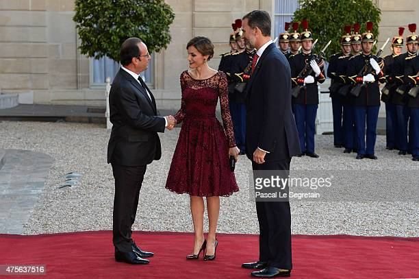 President of France François Hollande Her Majesty The Queen Letizia of Spain and His Majesty The King Felipe VI of Spain arrive at the State Dinner...