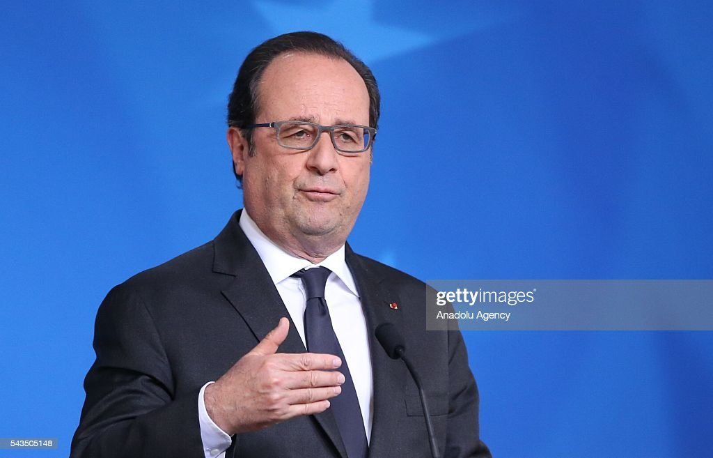 President of France François Hollande holds a press conference after EU summit meeting on June 28, 2016 in Brussels, Belgium.