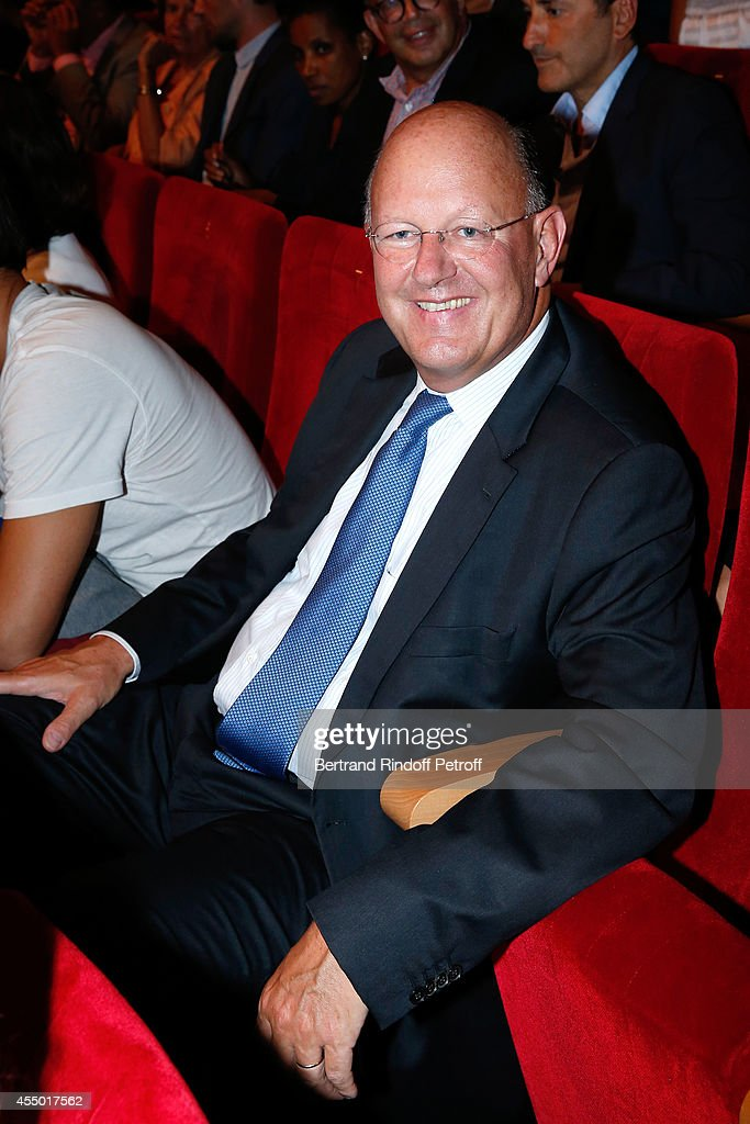 President of France Television and co-producer of the movie Remy Pflimlin attends the 'Breves de Comptoir' : movie premiere at Theatre du Rond Point on September 8, 2014 in Paris, France.