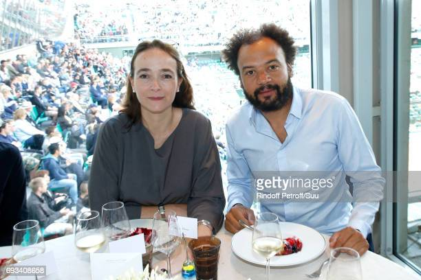 President of France Television Delphine Ernotte and actor Fabrice Eboue celebrate Fabrice's Birthday as they attend the 'France Television' Lunch...