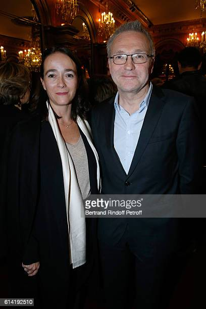 President of France Television Delphine Ernotte and Autor of the piece Laurent Ruquier attend the 'A Droite A Gauche' Theater Play at Theatre des...