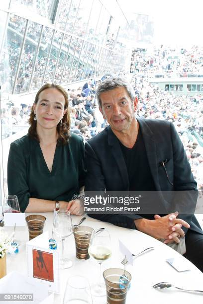 President of France Television Delphine Ernotte and Doctor Michel Cymes attend the 'France Television' Lunch during the 2017 French Tennis Open Day...