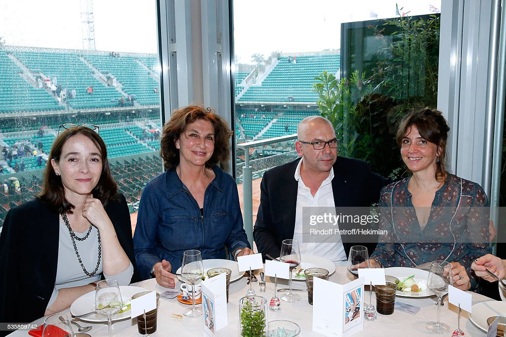 President of France Television, Delphine Ernotte, guest, Philippe Torreton and his wife Elsa Boublil attend the 'France Television' Lunch during Day Nine of the 2016 French Tennis Open at Roland Garros on May 30, 2016 in Paris, France.