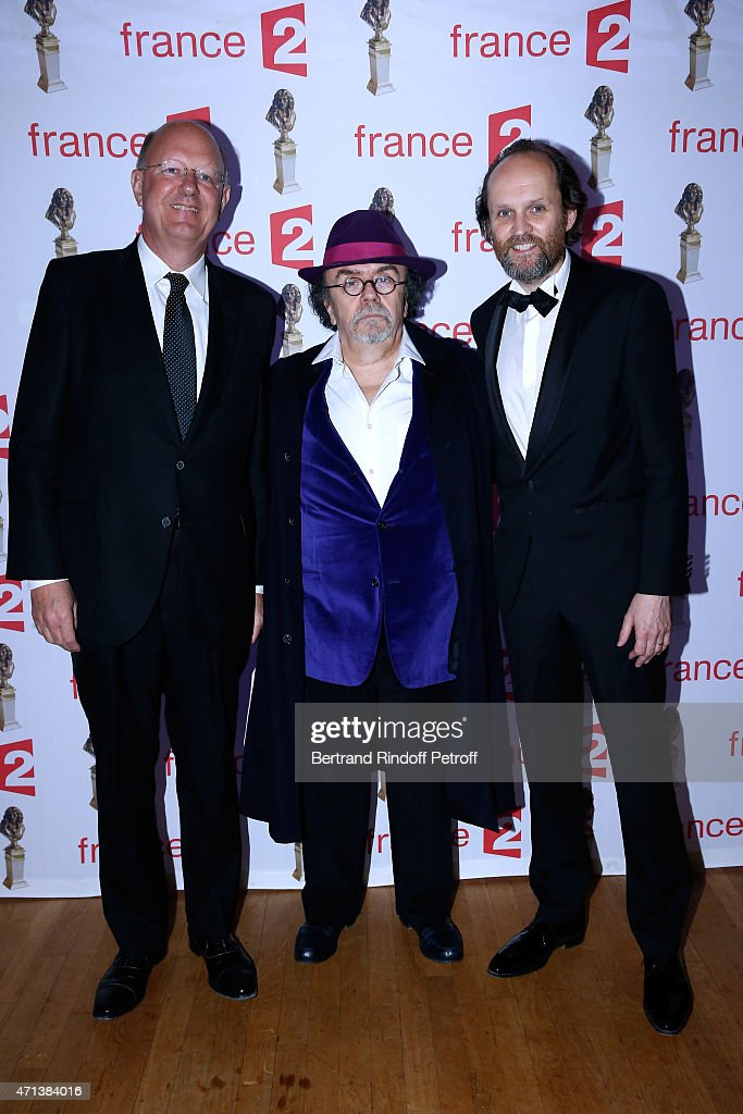 President of France Television Remy Pflimlin , Jean-Michel Ribes and President of Molieres, Jean-Marc Dumontet attend the 27th 'Nuit Des Molieres' 2015. Held at Folies Bergere on April 27, 2015 in Paris, France.