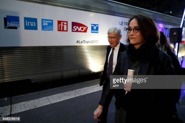 President of France Televisions Delphine Ernotte Cunci arrives to visit the 'Train de la Presidentielle' an exhibition hosted in a train at the Gare...