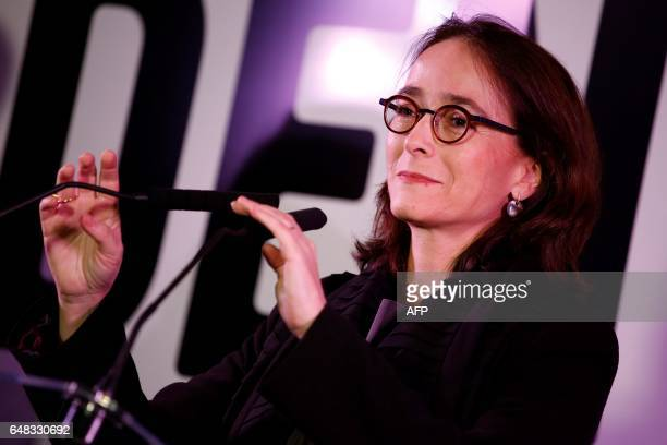 President of France Televisions Delphine Ernotte Cunci delivers a speech during the presentation of the 'Train de la Presidentielle' an exhibition...