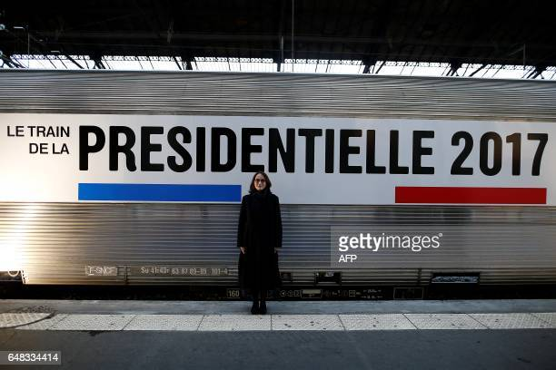 President of France Televisions Delphine Ernotte Cunci poses in front of the train hosting the exhibition 'Train de la Presidentielle' at the Gare de...