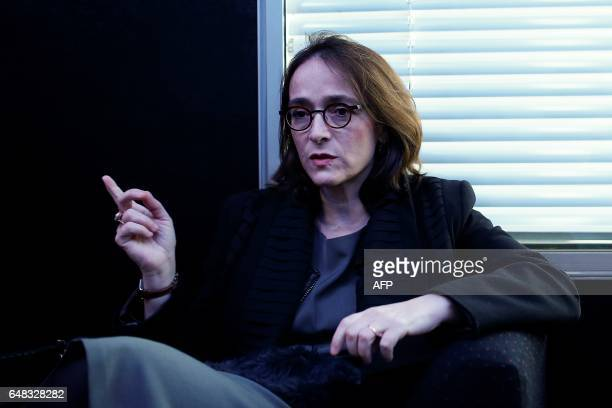 President of France Televisions Delphine Ernotte Cunci talks as she takes part in the presentation of the 'Train de la PrEsidentielle' an exhibition...