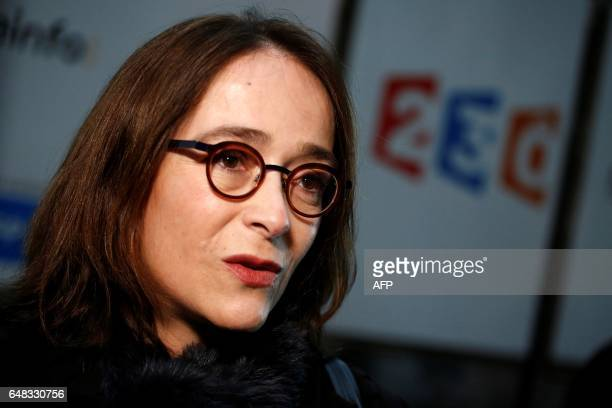 President of France Televisions Delphine Ernotte Cunci visits the 'Train de la Presidentielle' an exhibition hosted in a train at the Gare de Lyon...
